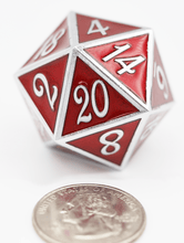 Load image into Gallery viewer, D20 Silver with Ruby - 35mm
