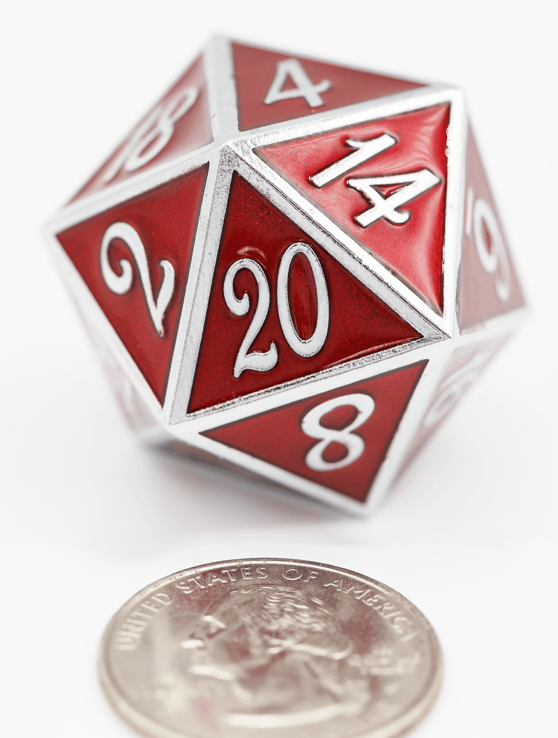 D20 Silver with Ruby - 35mm Extra Large