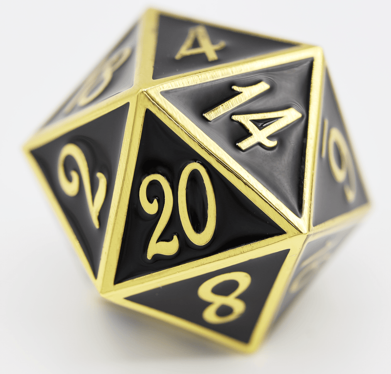 D20 Gold with Onyx - 35mm Extra Large