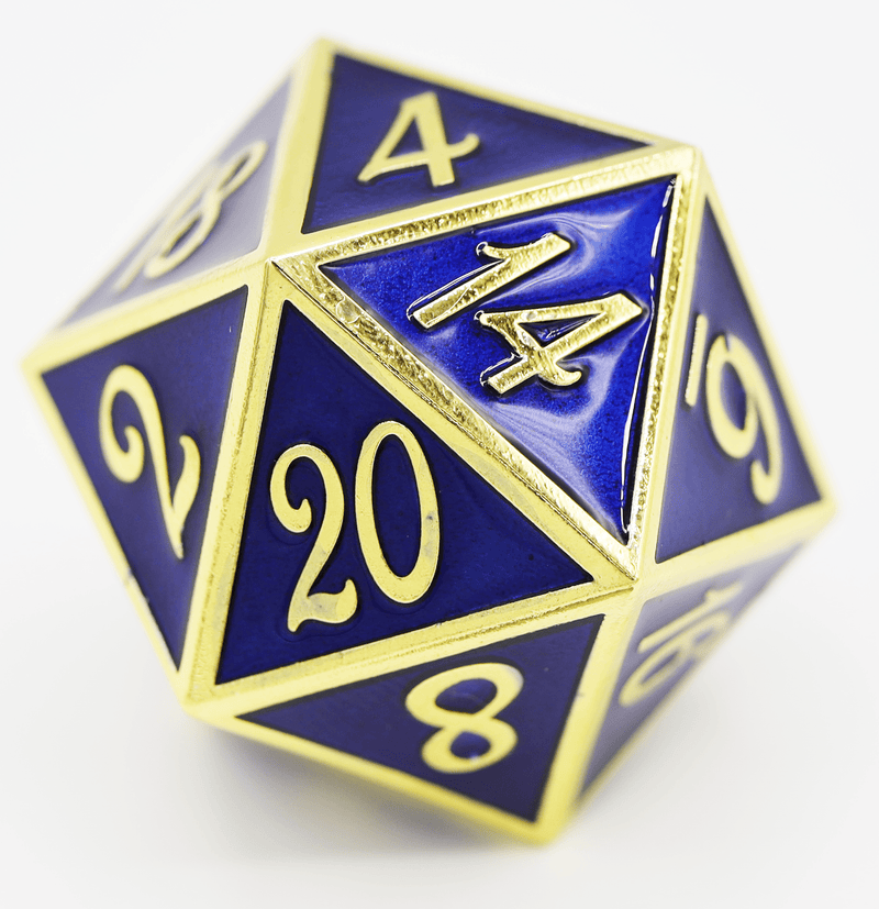 D20 Gold with Sapphire - 35mm Extra Large