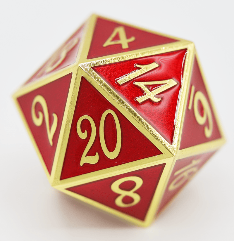 D20 Gold with Ruby - 35mm Extra Large