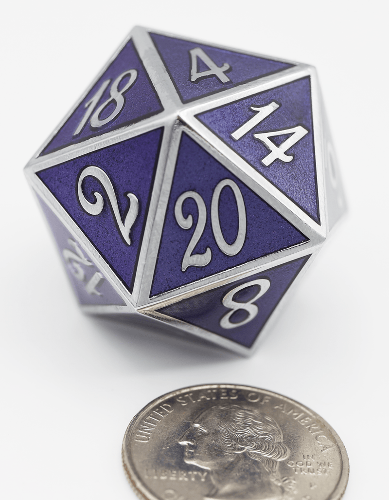 D20 Silver with Amethyst - 35mm Extra Large