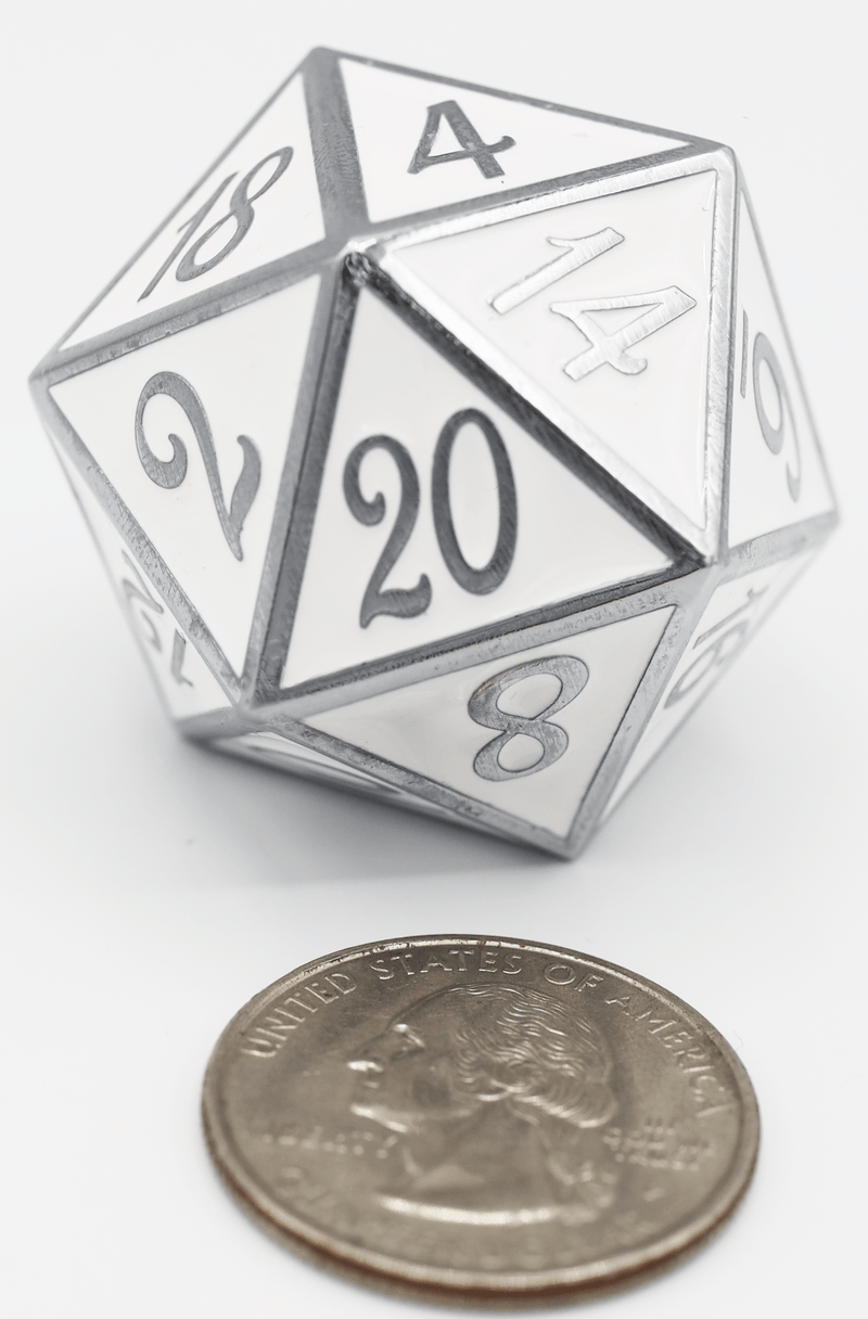 D20 Silver with White - 35mm Extra Large