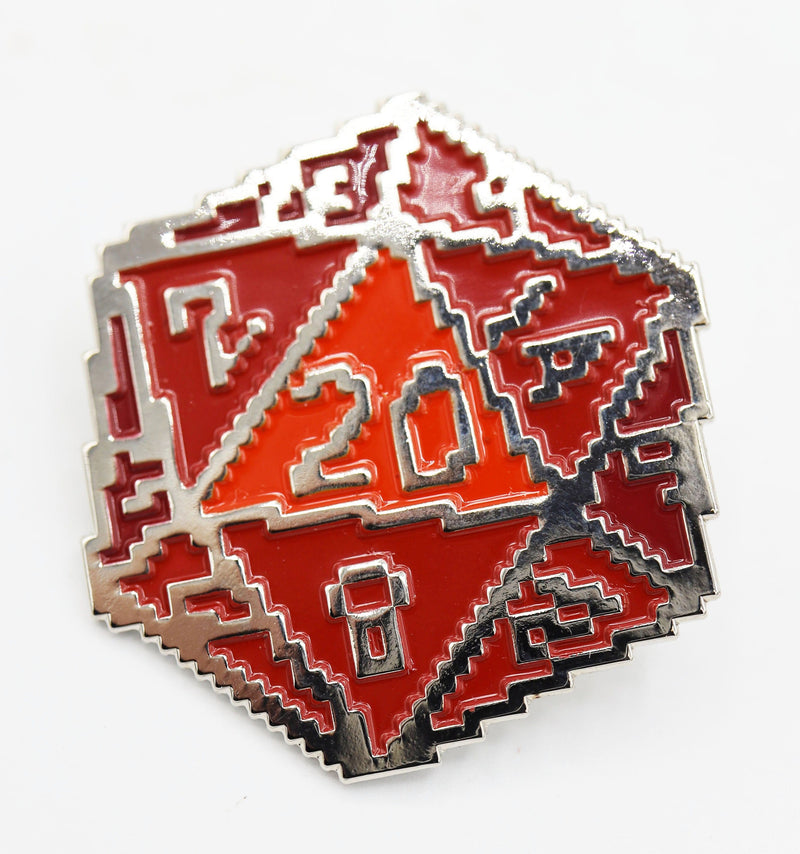 Red 8 Bit D20 Enamel Pin