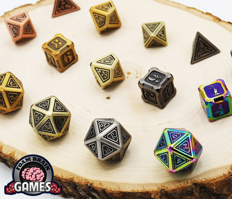 Alchemist Metals RPG Dice Set: White Gold