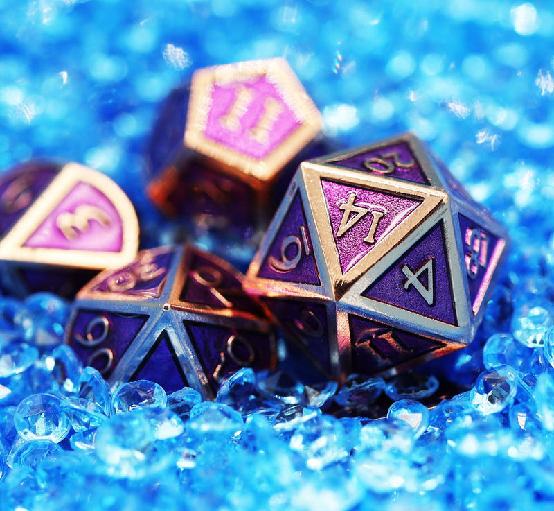 Copper with Amethyst RPG Dice Set