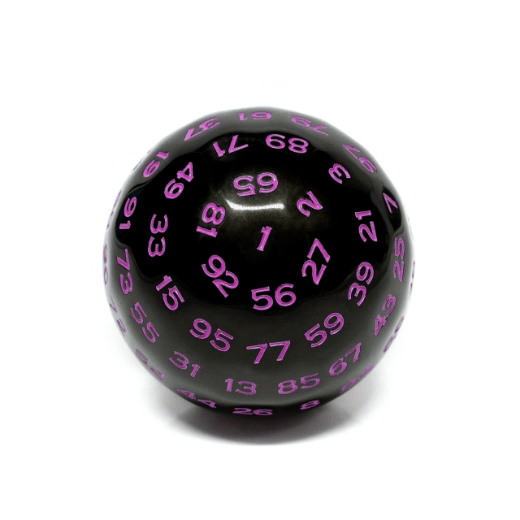 100 Sided Die - Black Opaque with Purple D100