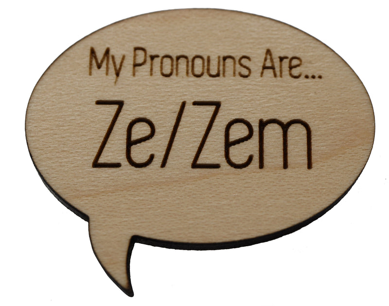 Pronoun Pins: Ze/Zem Speech Bubble