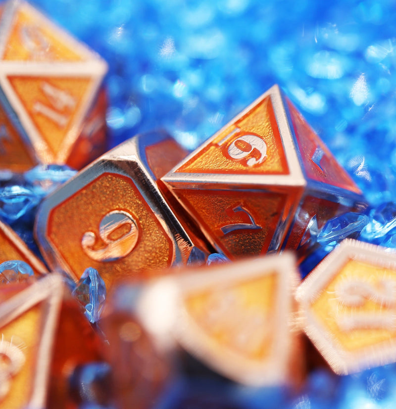 Copper Embossed Sunstone RPG Dice Set