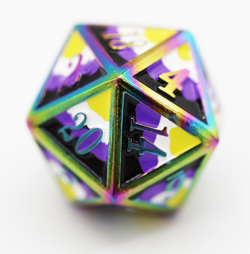 Non Binary Pride Flag - RPG Metal Dice Set