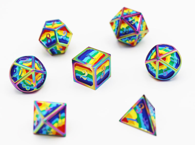 Rainbow Pride Flag - RPG Metal Dice Set