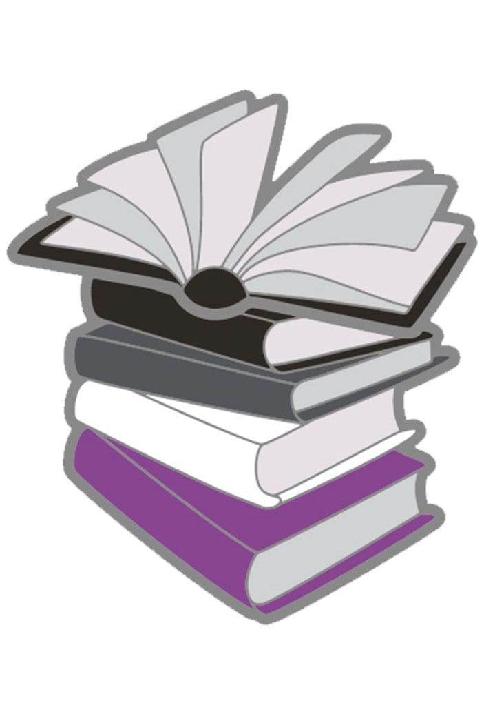 Enamel Asexual Books Pride Pin