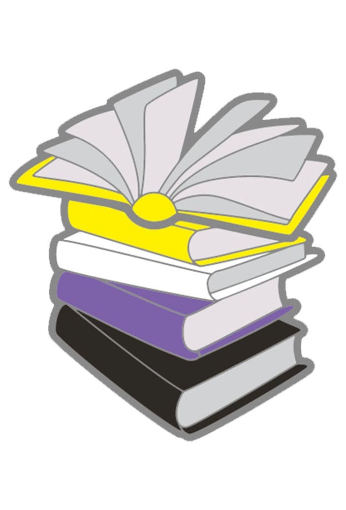 Enamel Non Binary Books Pride Pin
