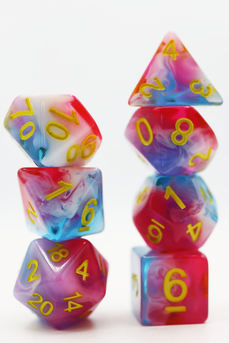 Glacier Rose RPG Dice Set