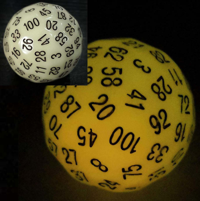 100 Sided Die - Glow Yellow D100