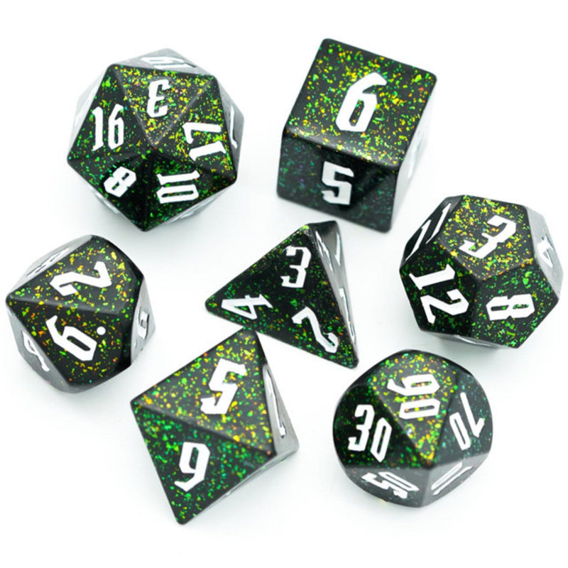 Jumbo Green Glitter Dice Set with White Font
