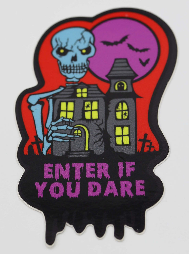 Spooky Sticker: Enter If You Dare - Red