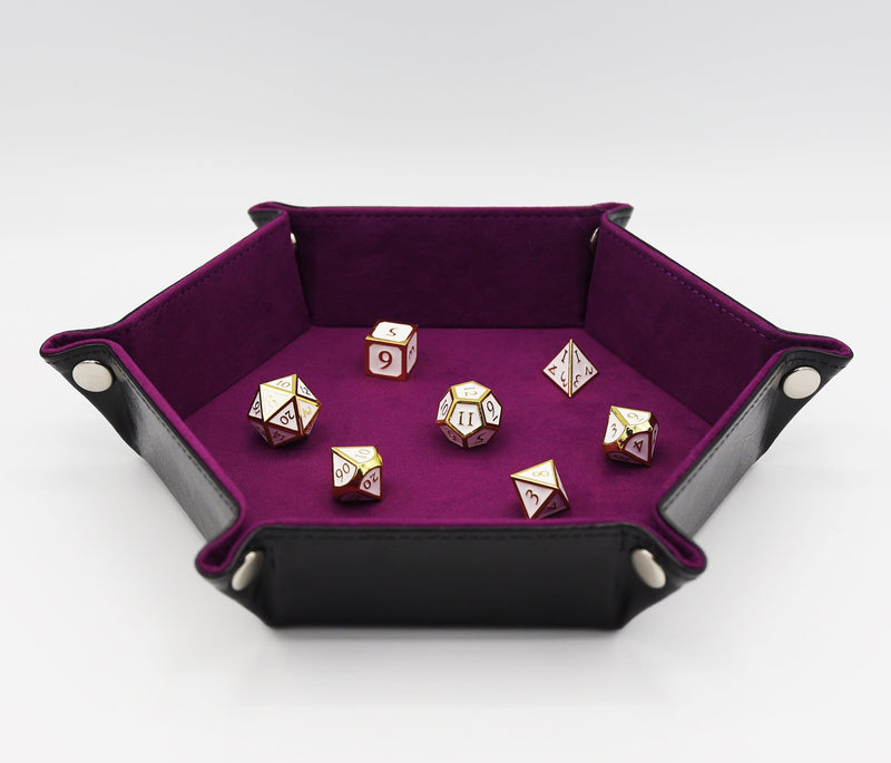 Leatherette & Velvet Dice Tray (Black w/ Magenta Hex)