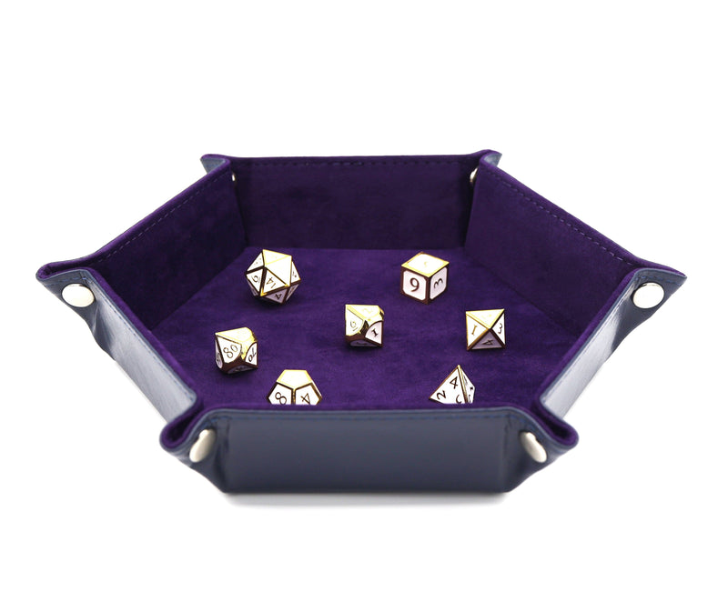 Leatherette & Velvet Dice Tray (Navy w/ Purple Hex)