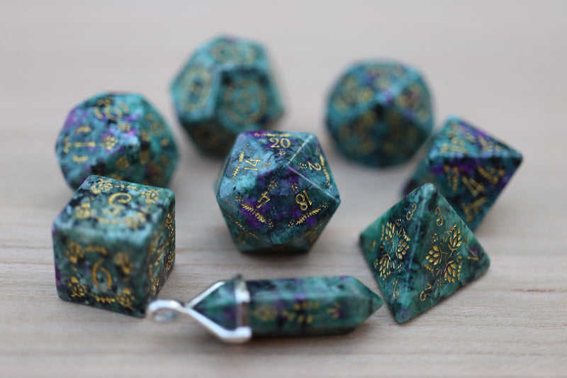 Level Up: Arboretum Ruby in Zoisite RPG Dice & Bonus Pendant