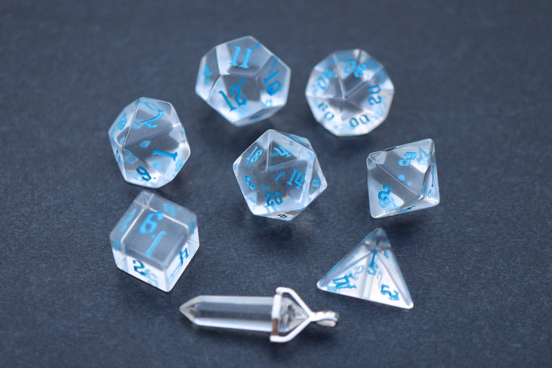 Level Up: Crown Crystal - Blue script RPG Dice & Bonus Pendant