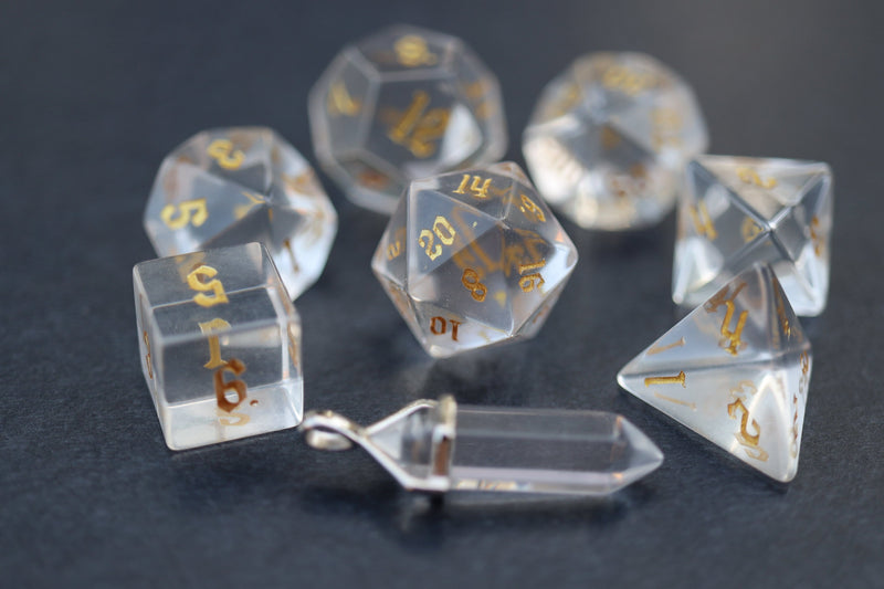 Level Up: Crown Crystal - Gold script RPG Dice & Bonus Pendant