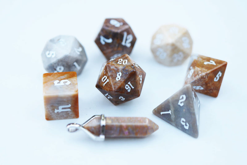 Level Up: Fossilized Coral RPG Dice & Bonus Pendant