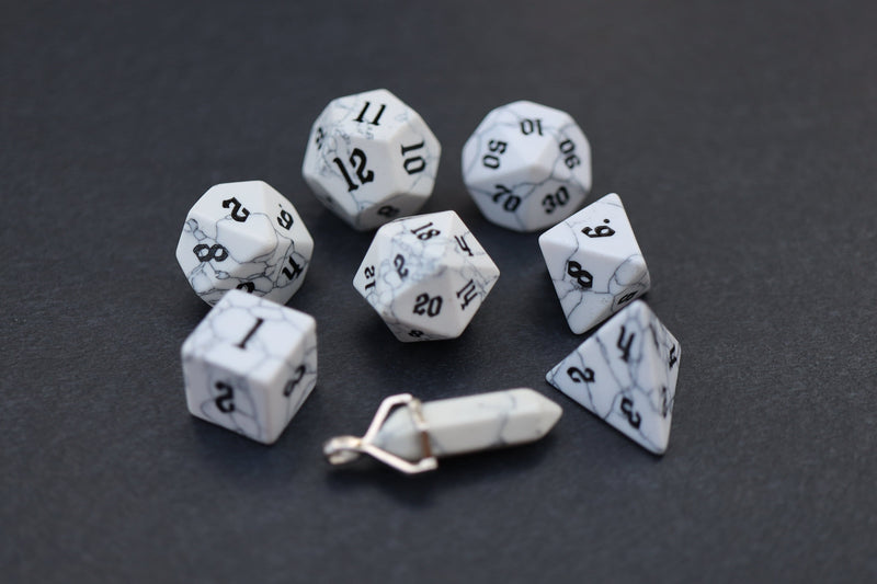 Level Up: Howlite RPG Dice & Bonus Pendant