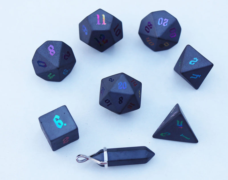 Level Up: Ionized Hematite RPG Dice & Bonus Pendant