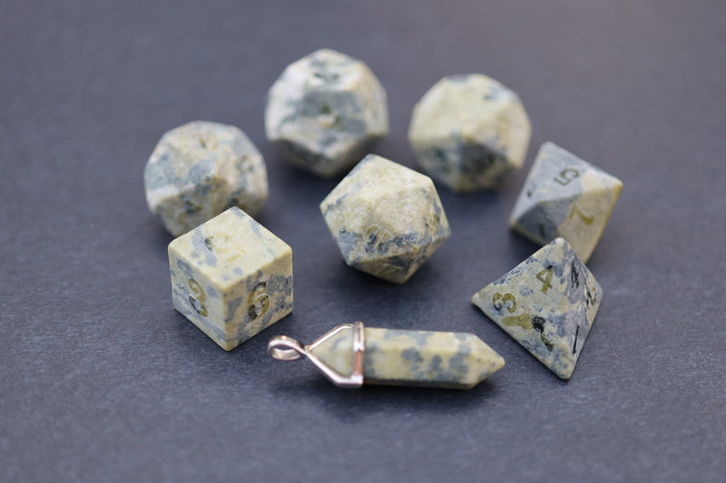 Level Up: Raised African Jade RPG Dice & Bonus Pendant