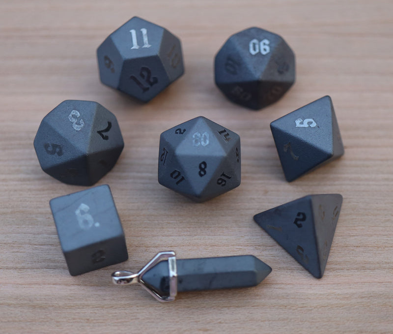Level Up: Raised Hematite RPG Dice & Bonus Pendant