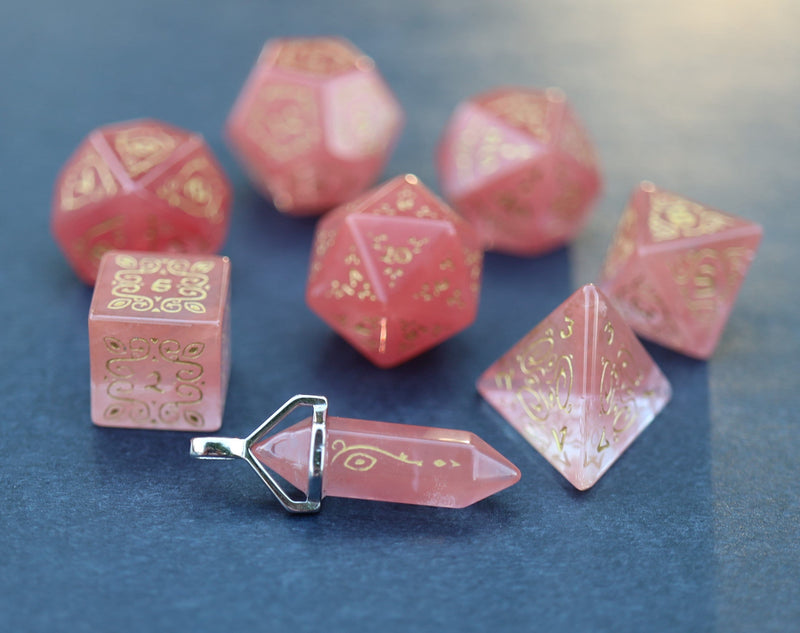 Level Up: Sylvan Watermelon Tourmaline RPG Dice & Bonus Pendant