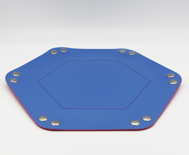 Leatherette & Velvet Dice Tray (Light Blue w/ Pink Hex)