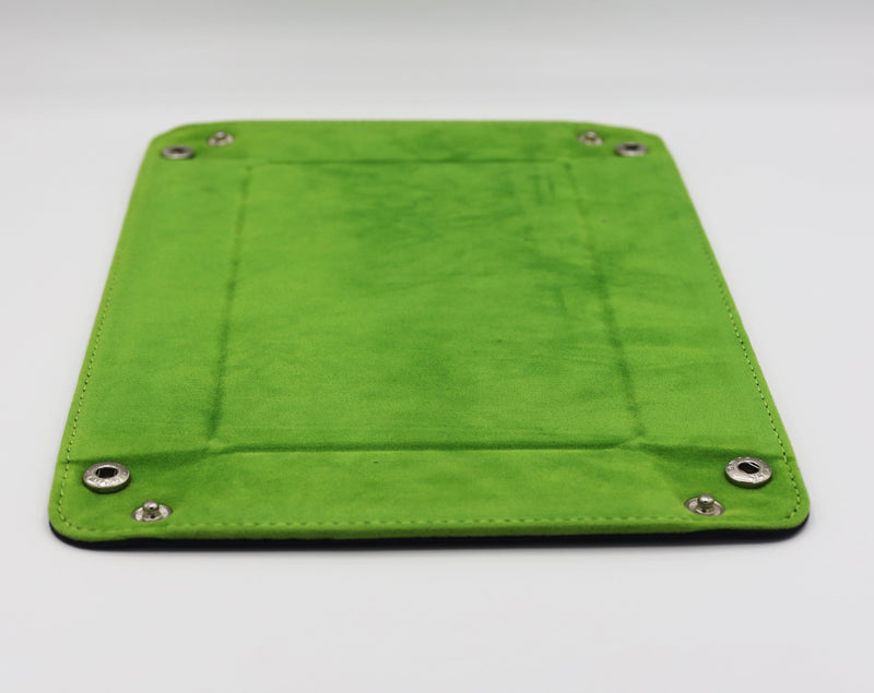 Leather & Velvet Dice Tray (Navy w/ Lime Green)