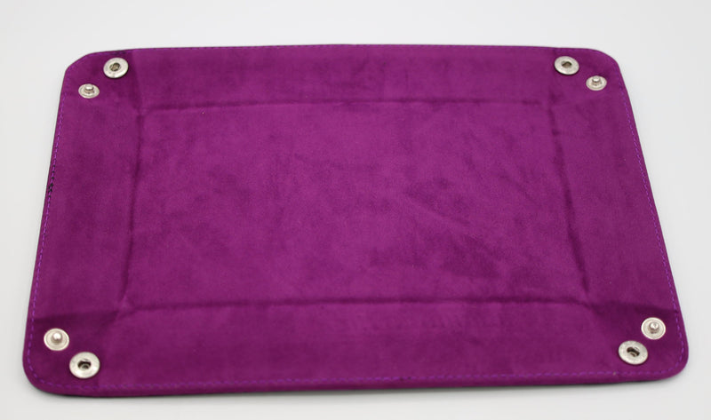 Leatherette & Velvet Dice Tray (Black w/ Magenta Rectangle)