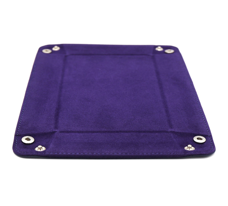 Leather & Velvet Dice Tray (Navy w/ Purple)