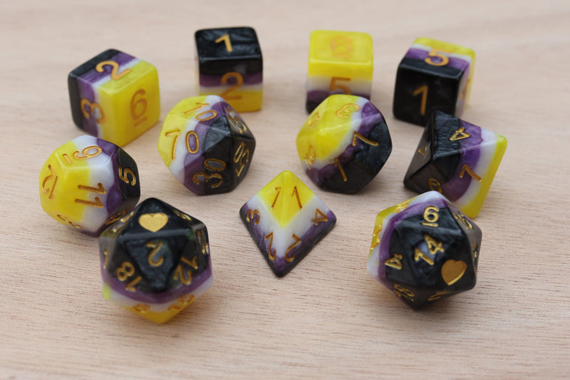 NonBinary Heartbeat Dice Set