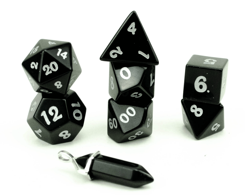 Level Up: Obsidian RPG Dice & Bonus Pendant