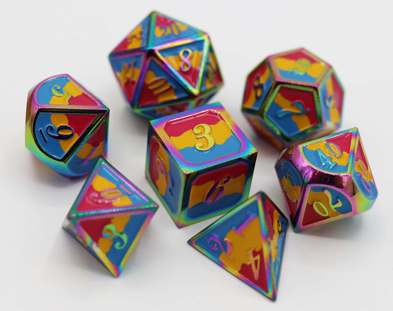 Pansexual Pride Flag - RPG Metal Dice Set