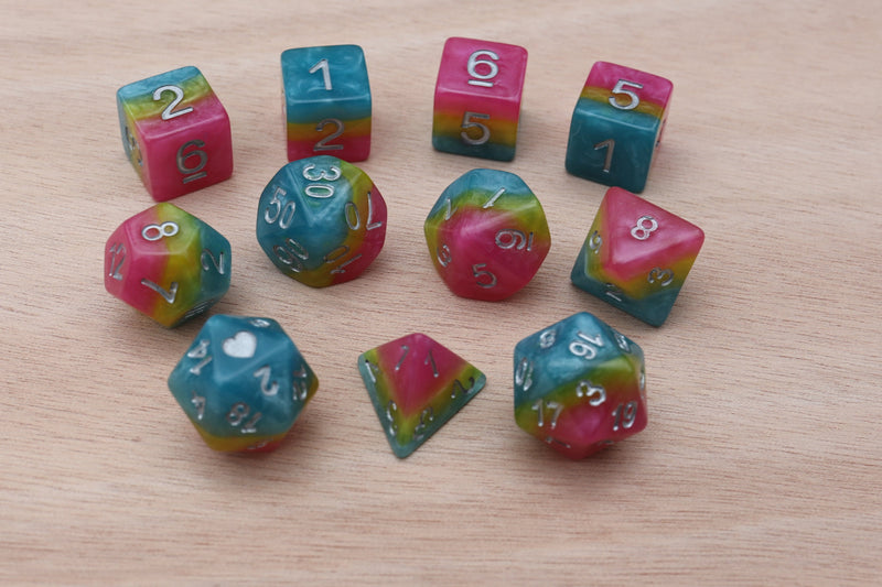 Pansexual Heartbeat Dice Set