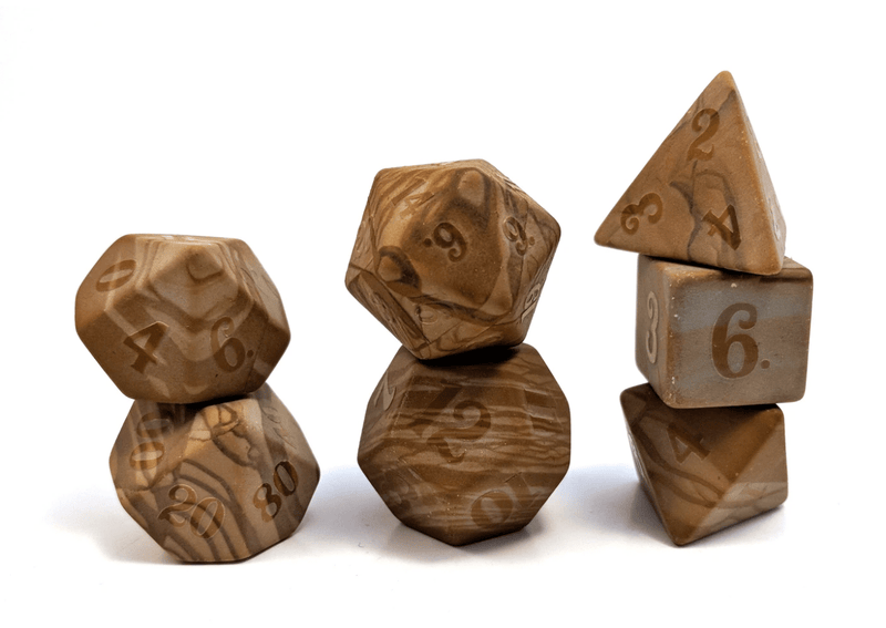 Level Up: Raised Egyptian Marble RPG Dice & Bonus Pendant