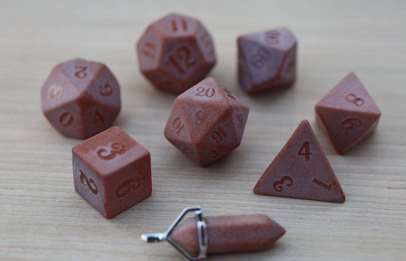 Level Up: Raised Gold Sandstone RPG Dice & Bonus Pendant