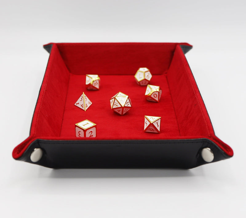 Leatherette & Velvet Dice Tray (Black w/ Red Rectangle)