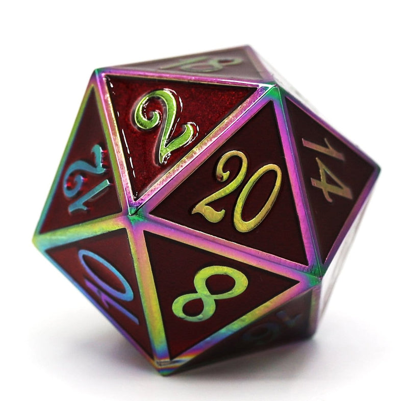 D20 Burnt Opal with Ruby - 35mm Extra Large