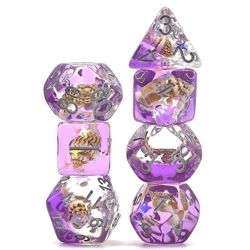 Purple Beach Conch RPG Dice Set