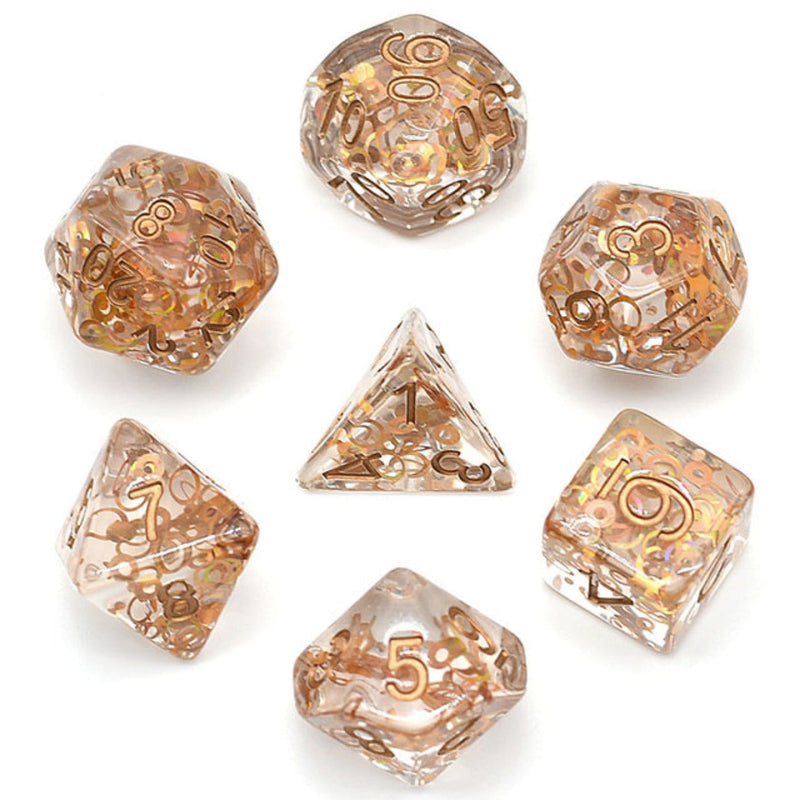 Copper Foil Fragment Filled RPG Dice