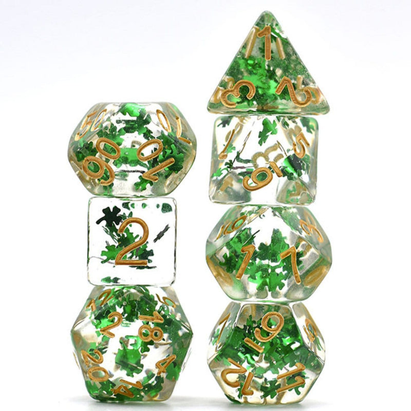 Green Foil Clover Fragment RPG Dice