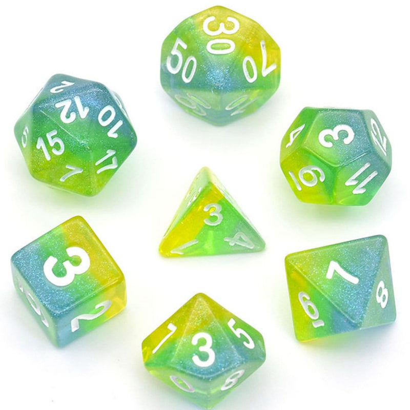 Blue, Green & Yellow Shimmer Layer Dice