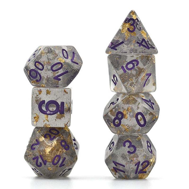 Gray with Gold Foil RPG Dice Set