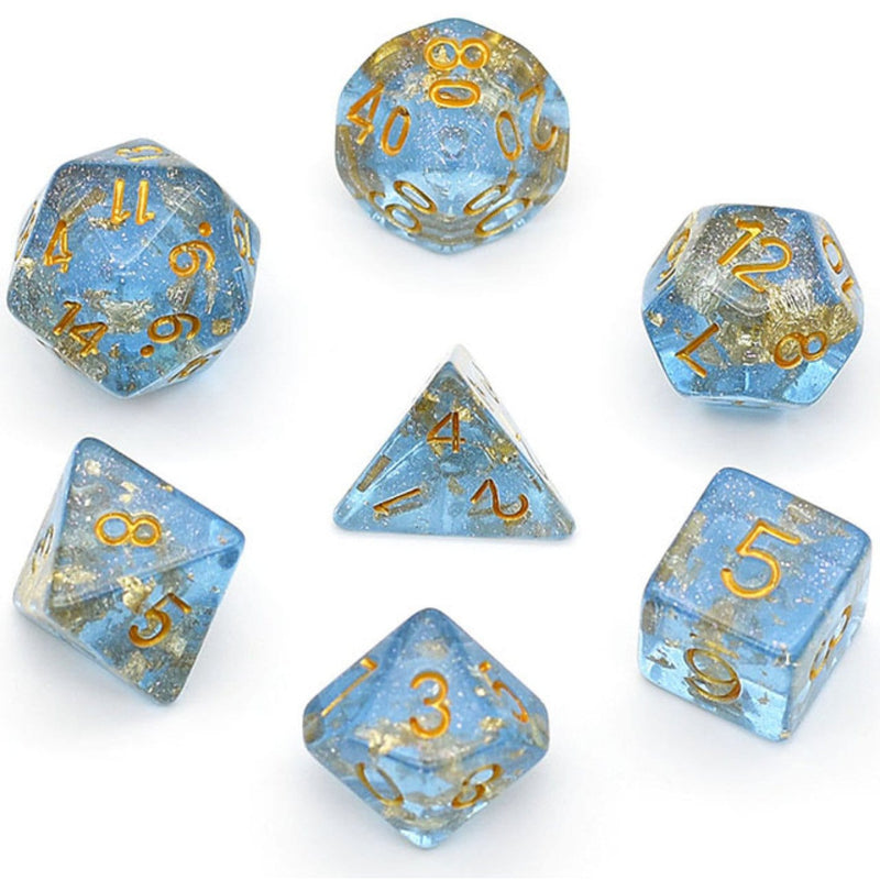 Blue with Gold Foil RPG Dice Set